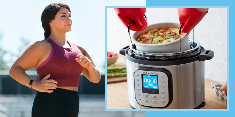 Illustration of woman wearing a Fitbit and someone taking food out of an Instant Pot