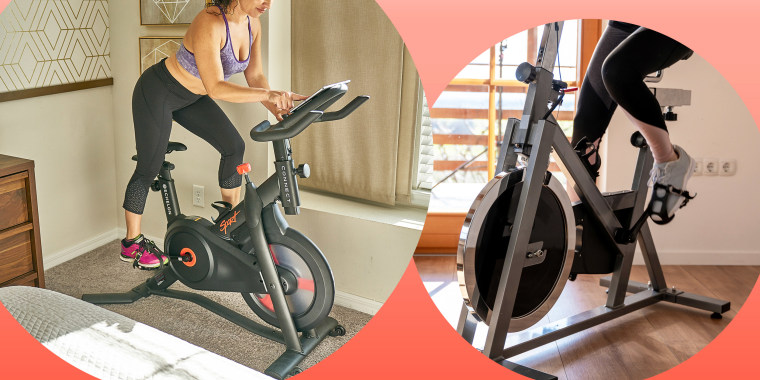 Illustration of 2 Women riding in-home stationary bikes