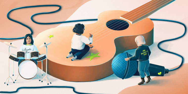 Illustration of tiny women playing large musical instruments