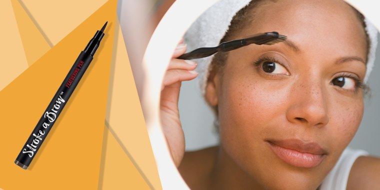Illustration of Woman brushing her eye brows and a liquid eye brow pen