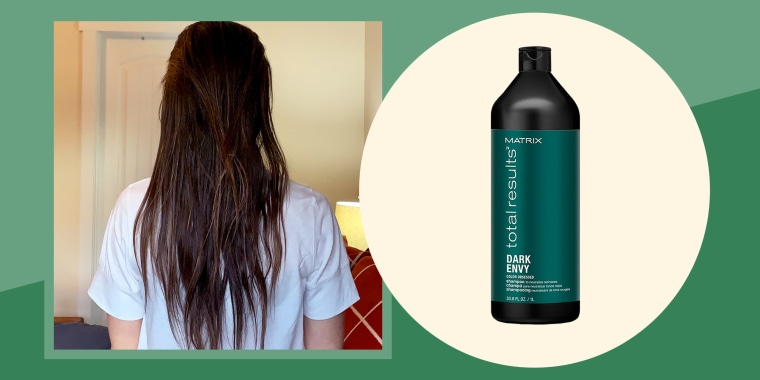 Illustration of Katie Jackson after using Matrix Total Results Dark Envy Green Shampoo