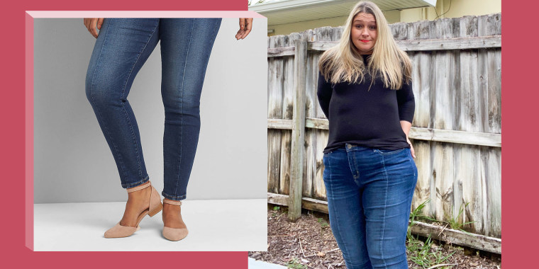 Illustration of Terri Peters wearing Lane Bryant jeans and the jeans on model on website