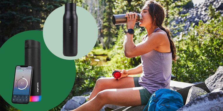 Illustration of the Hidrate Spark Steel Smart Water Bottle, LARQ Insulated Self-Cleaning and Stainless Steel Water Bottle, and Woman drinking from her Hydro Flask Water Bottle