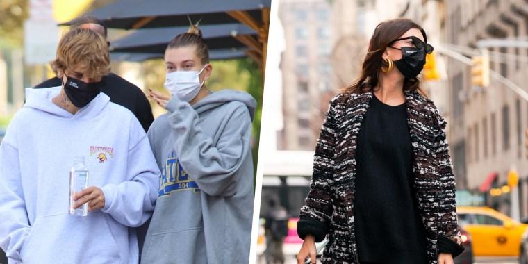 Illustration of Emma Ratajkowski and Justin Bieber and Hailey Bieber, wearing a Evolvetogether black mask