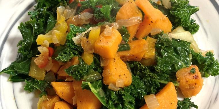 Tanya Holland's sweet potato-kale hash