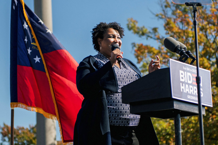 Image: Former Georgia House of Representatives Minority Leader Stacey Abrams speaks ahead of former President Barack Obama's address in Atlanta