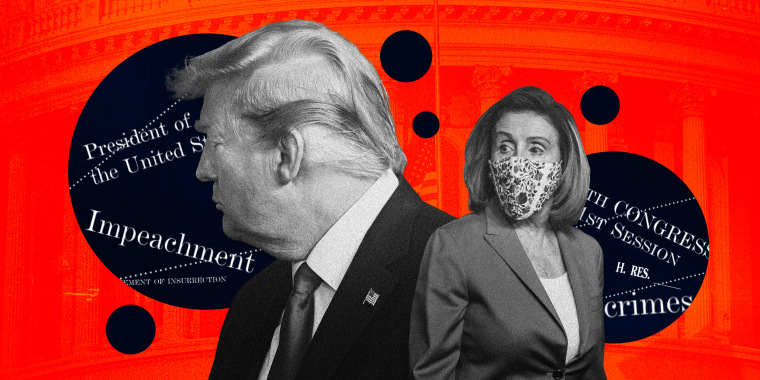 """Image: illustration of President Donald Trump and House Speaker Nancy Pelosi on a red background that shows the Capitol exterior, with navy bubbles showing words like \""""Impeachment,\"""" \""""Congress,\"""" \""""President\"""""""