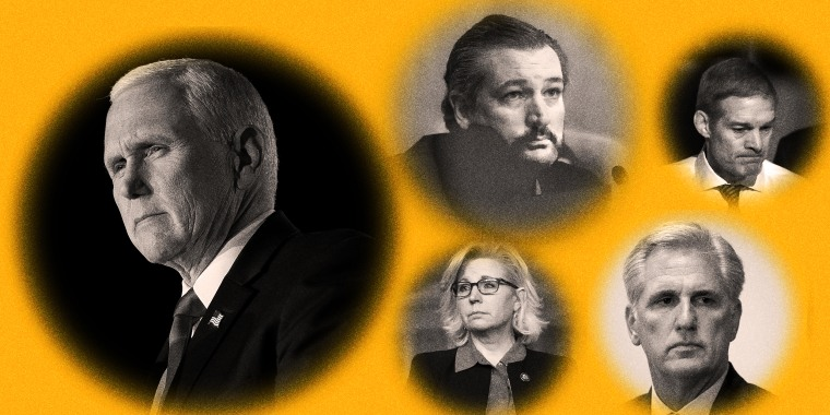 Photo illustration with images of Mike Pence, Ted Cruz, Liz Cheney, Jim Jordan and Kevin McCarthy in circles against a yellow background.