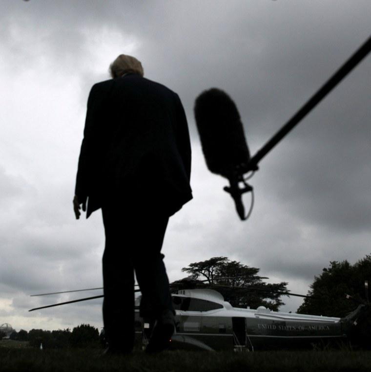 Image: Donald Trump walks away