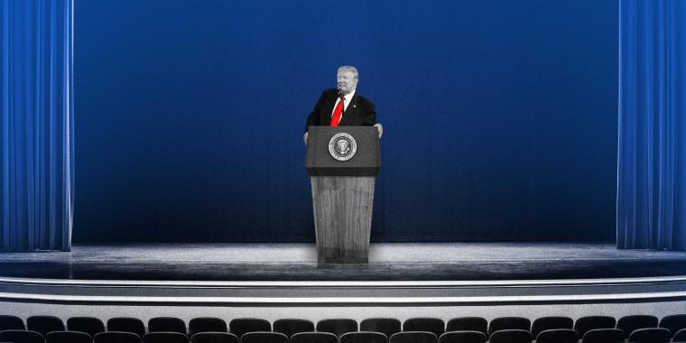 Image: Illustration of Donald Trump speaking to an empty auditorium.