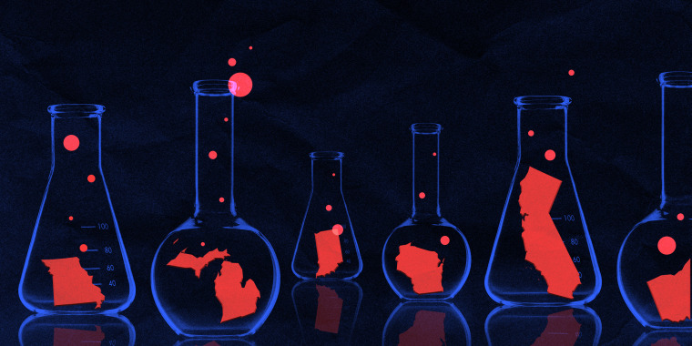 Photo illustration of blue glass flasks in a dark lab with one red U.S. state in each. Bubbles are coming out of each flask.