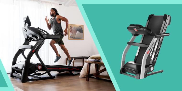 Illustration of a man running on a Bowflex treadmill and a foldable Bowflex Treadmill