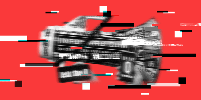 """Photo illustration of a blurry megaphone with stickers that read,"""" Infowars.com"""" and phone screens that read,""""Ask the Q"""" and """"We are Q""""."""