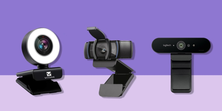 Illustration of Logitech C920s, Logitech Brio and Vitade 960A Webcam