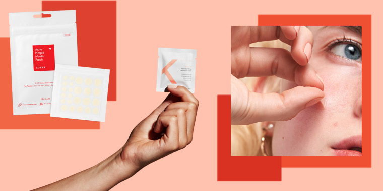 Illustration of hand holding ZitSticka, Hero Cosmetics Invisible Mighty Patch and COSRX Acne Pimple pathces