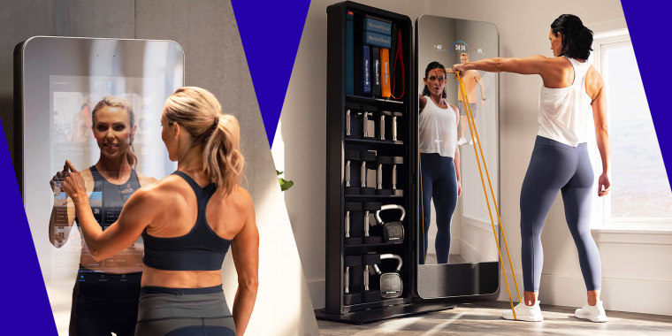 Illustration of a woman using her touch screen Nordictrack Vault and woman using bands on a workout class on her Nordictrack Vault. Best smart mirrors of 2021 also include Mirror, Tonal, Tempo, Echelon, NordicTrack and more.