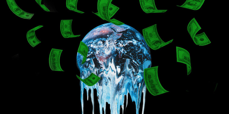 Photo illustration of a the earth melting while money falls over it.