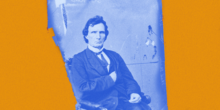 Image: Portrait of Thaddeus Stevens with blue overlay against a yellow background