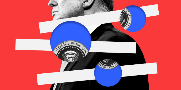 Photo illustration of Donald Trump superimposed with three lines along with blue circles through which a parts of the U.S. presidential seal is visible.