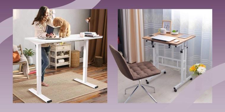Illustration of Flexispot Electric Standing Desk and the SIDUCAL Mobile Stand Up Desk Adjustable Laptop Desk