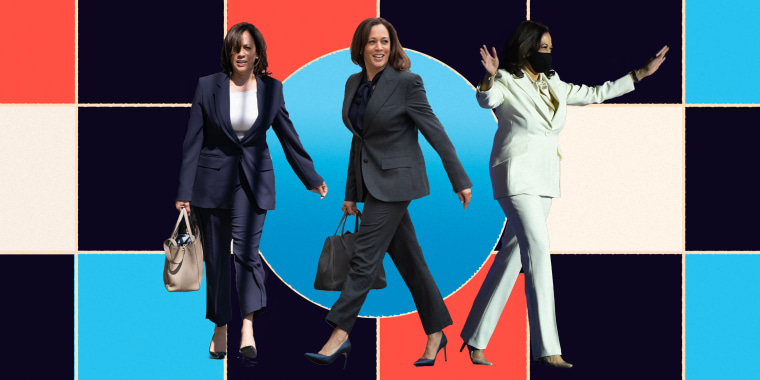 Collage of Kamala Harris walking in suits