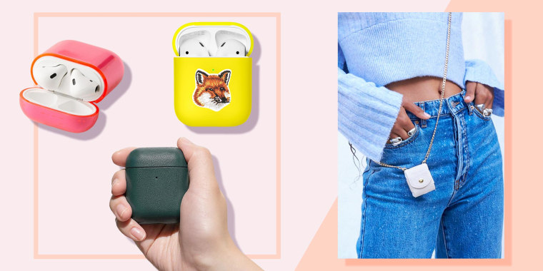 Illustration of three different airpod cases and a woman wearing a stylish airpod chain case