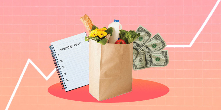 Illustration of grocery bag, money and list