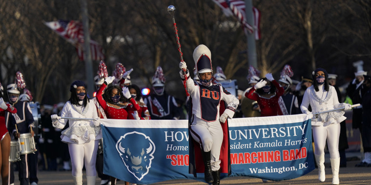 The Howard University marching band performs during the presidential escort, part of Inauguration Day ceremonies.