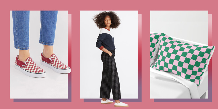 Illustration of Vans Classic Slip-On Core Classics, Madewell Huston Button-Front Ankle Pants in Checked Corduroy and Cotton Candy Pink and Cadmium Green Checkerboard Pillow Sham