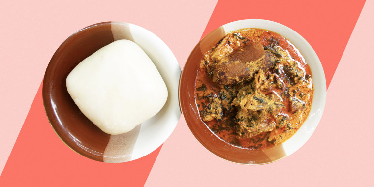 Photo collage of fufu on a plate