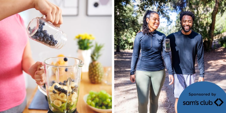 Illustration of a Woman making a smoothie with her blender from Sam's Club and a couple walking in the park