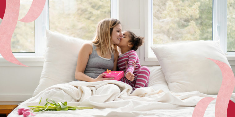 Illustration of a woman in bed kissing her daughter for giving her a valentines gift