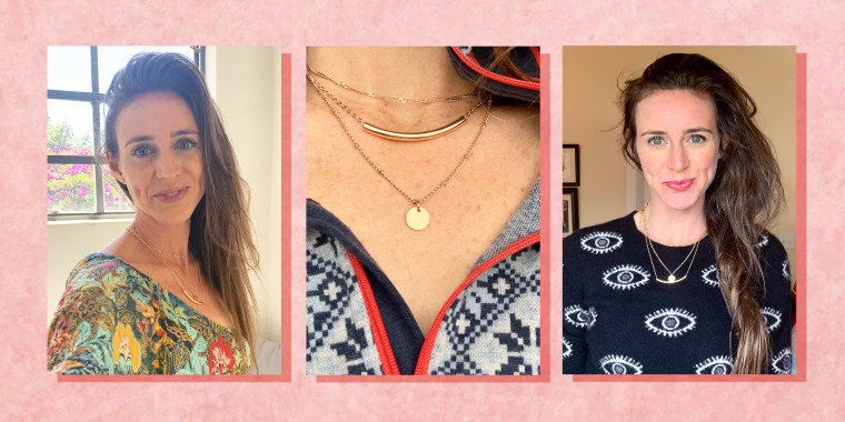 Illustration of 3 different images of Katie Jackson wearing Amazon layered necklace