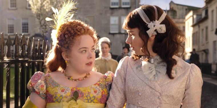 """Nicola Coughlan and Claudia Jessie in """"Bridgerton"""""""