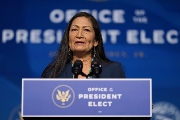 Image: Biden administration's nominee for Secretary of Interior, Rep. Deb Haaland, D-N.M., speaks at The Queen Theater in Wilmington Del.