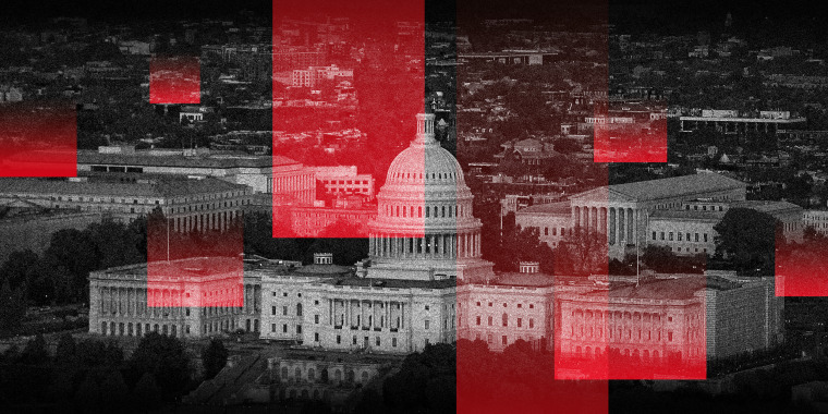 Photo illustration of the aerial view of the U.S. Capitol and U.S. Supreme Court with multiple red overlays.