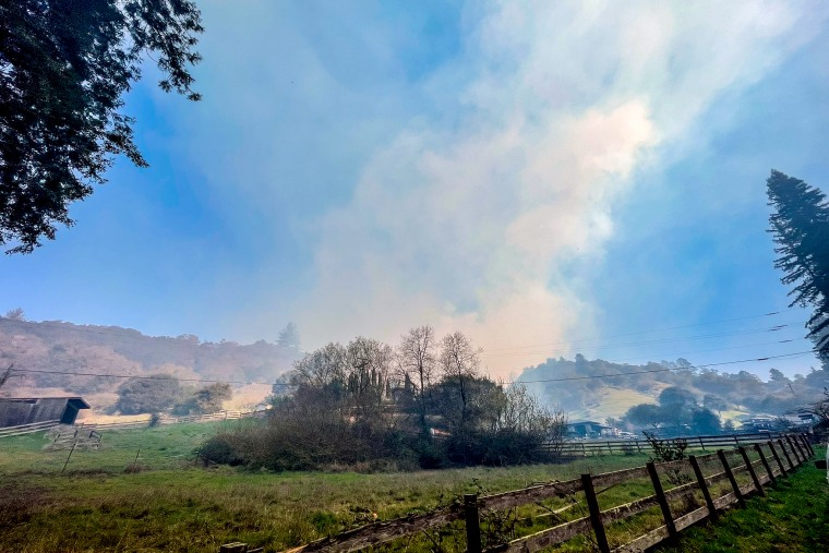 White Road at Freedom and Larkin Valley is closed due to the Nunes Fire in Santa Cruz, Calif.
