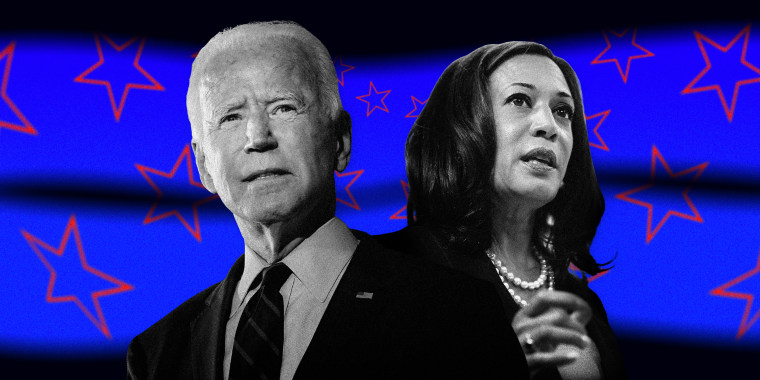 Image: Joe Biden and Kamala Harris on a background of blurry blue stripes with red, distorted stars.