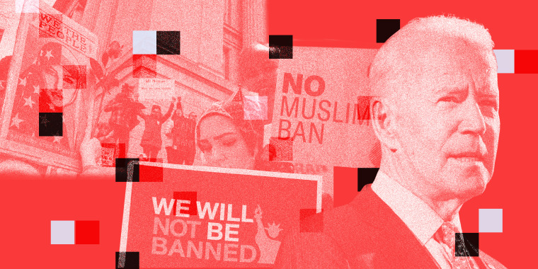 "Photo collage of images from protests against Trump's ""Muslim Ban"" along with Biden looking ahead."