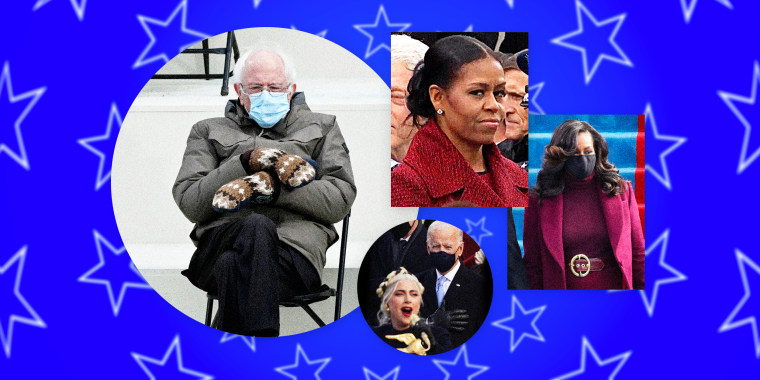 Image: Memes show Bernie Sanders wearing mittens, Michelle Obama's inauguration outfit, and Joe Biden gazing at Lady Gaga.