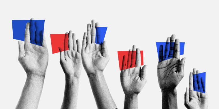 Photo illustration of raised handing holding blue and red cards