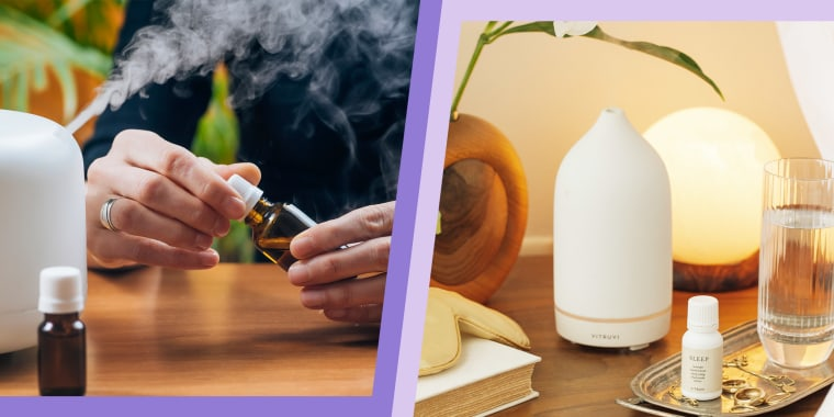 Illustration of a man using a oil diffuser and a lifestyle image of the white Vitruvi Stone Diffuser next to a bed