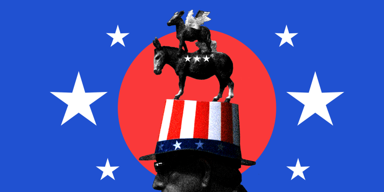 Photo illustration of a man wearing a hat with the donkey, the party symbol of the Democratic Party surrounded by stars.