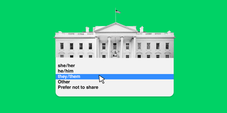 """Image: Illustration showing a drop down menu opening from the White House. The drop down menu shows pronoun options, with \""""they / them\"""" highlighted in blue."""