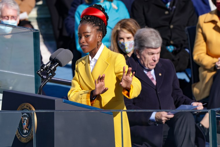 Image: Youth Poet Laureate Amanda Gorman at the inauguration at the Capitol