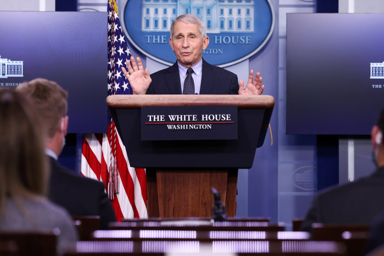 Image: Fauci addresses the daily press briefing at the White House in Washington