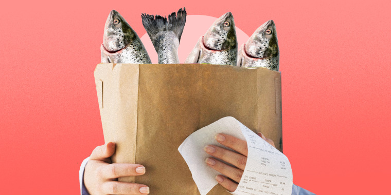 Photo illustration of fish in a paper grocery bag