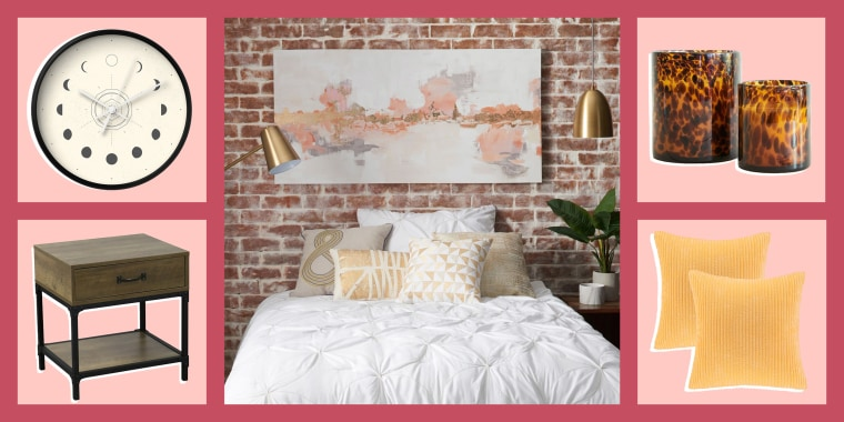 Illustration of a fun trendy bedroom, surrounded by items to upgrade your bedroom