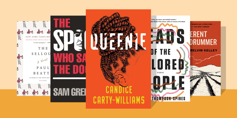 Illustration of The Spook Who Sat by the Door by Sam Greenlee, Heads of the Colored People by Nafissa Thompson-Spires, A Different Drummer by William Melvin Kelley, The Sellout by Paul Beattie, Queenie by Candice Carty-Williams