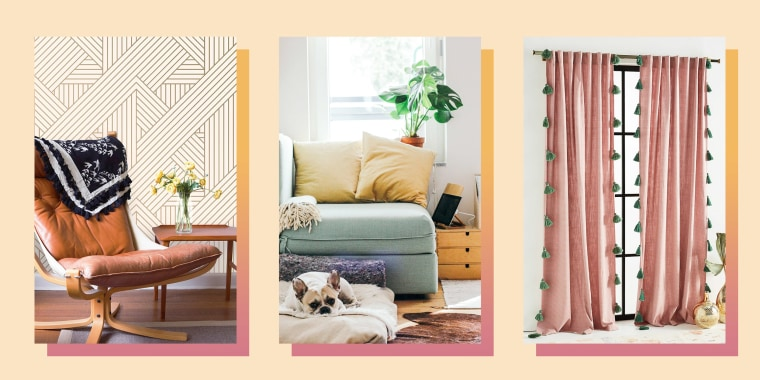 Illustration of gold wallpaper, a Monstera Deliciosa in someones living room and Anthropologie Mindra Curtains in pink